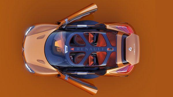 Renault CAPTUR Concept - véhicule vue de haut - portières ouvertes