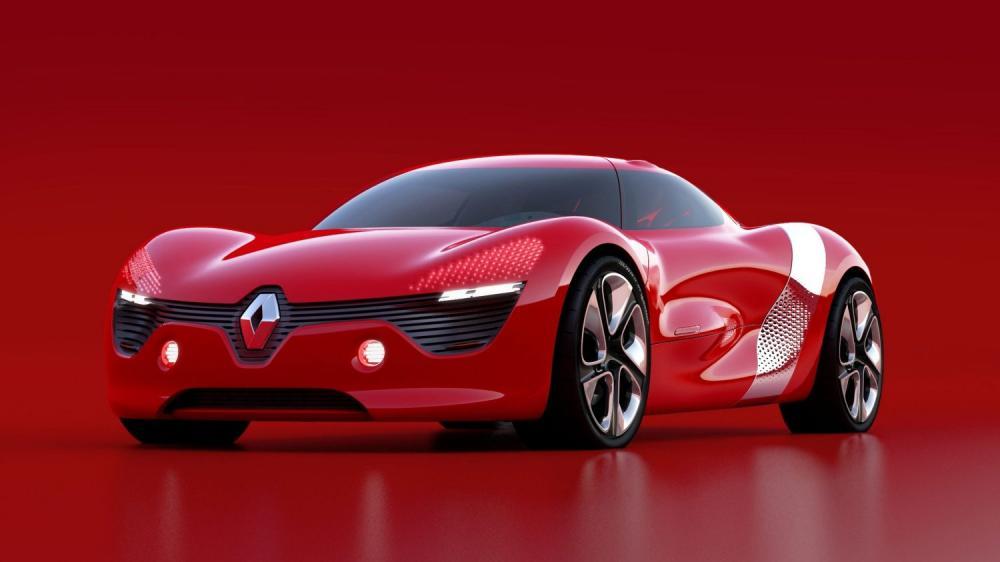 Renault DEZIR concept - vue 3/4 avant gauche sur fond rouge
