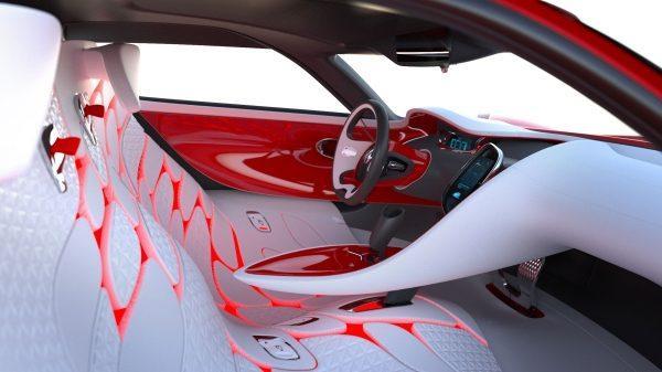 Renault DEZIR concept - vue intérieure avec son habitacle et ses sièges avant
