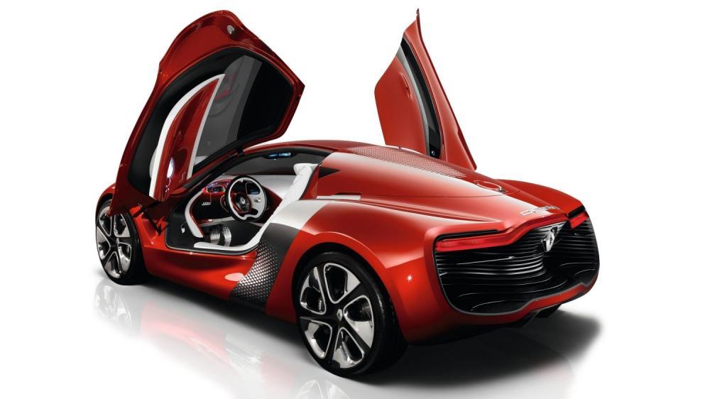 Renault DEZIR Concept - véhicule en 3D - vue 3/4 arrière avec portières ouvertes