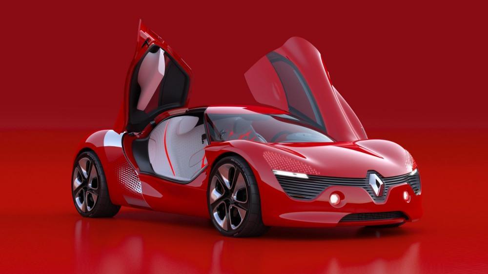 Renault DEZIR Concept - vue 3/4 avant sur fond rouge avec portières ouvertes