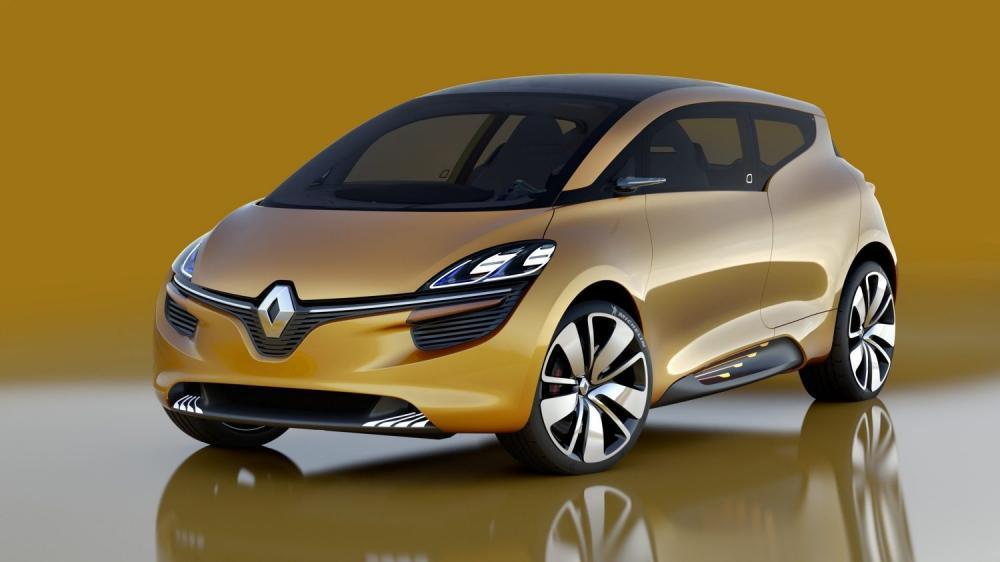 Renault R-SPACE Concept - vue 3/4 avant sur fond jaune