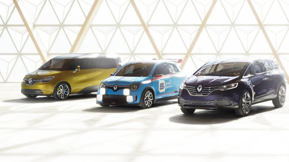 Renault - gamme concept-cars - 3 véhicules vue 3/4 avant gauche