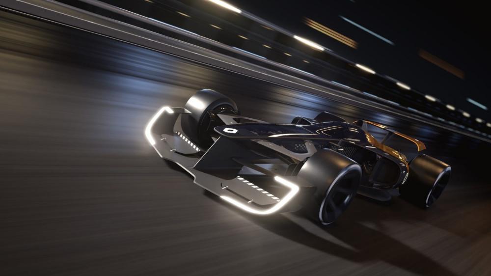 Renault Concept-car - R.S. 2027 Vision Concept sur piste futuriste