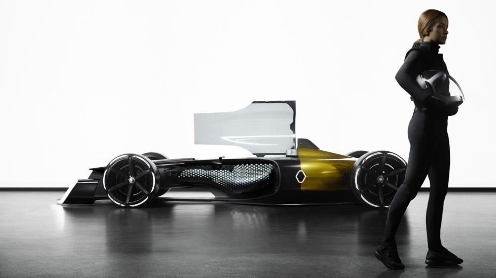 Renault Concept-car - femme pilote devant R.S. 2027 Vision Concept