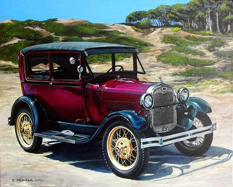 cuadros automoviles clasicos pintura al oleo, paisaje con carro.JPG